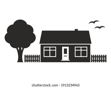 Bungalow icon. Small house. Home. Property. Real estate. Vector icon isolated on white background.