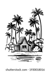 Bungalow with palm trees next to sea. Beach tropic vacation sketch style