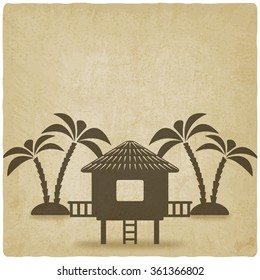 bungalow with palm trees old background. vector illustration - eps 10