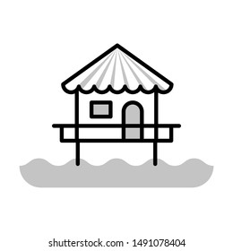 bungalow thin line vector icon