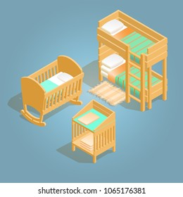ad799905649a Bunk bed, baby crib and baby changing table isometric icon. Cartoon wooden  bed for