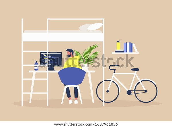 Bunk Bed Desk Home Office Interior Stock Vector Royalty Free 1637961856