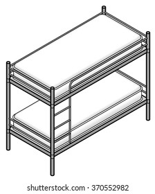 A bunk bed with a tubular steel frame.