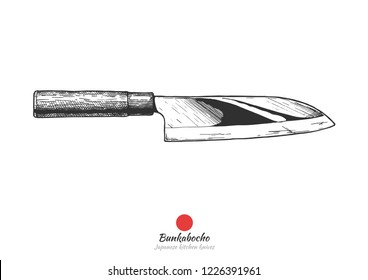 Bunka bocho, Japanese kitchen knife. Vector hand drawn illustration in vintage engraved style. Isolated on white background.