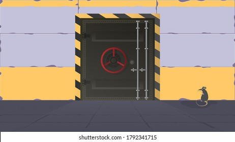 Bunker in a flat style. Large metal doors from the bunker. Armored door. Vector.