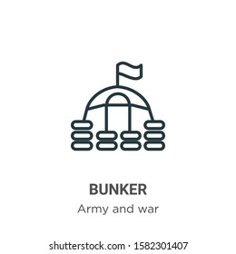 Bunker outline vector icon. Thin line black bunker icon, flat vector simple element illustration from editable army concept isolated on white background