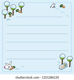 Bunnies and carrots, trees covered with snow (wintertime setting template, framed and lined for your own text)