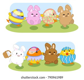 Bunnies with chick friends disguised as easter eggs dancing in a garden (two kawaii illustrations)