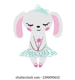 Bunny baby girl cute print. Sweet rabbit with magic wand, bow, ballet tutu, pointe shoes. Cool animal illustration for nursery t-shirt, kids apparel, birthday card, invitation. Simple child design