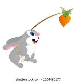 Bunny with a bait, carrots on a stick. Background. Wallpaper.