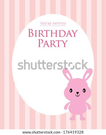 bunny birthday invitation card stock vector royalty free 176419328