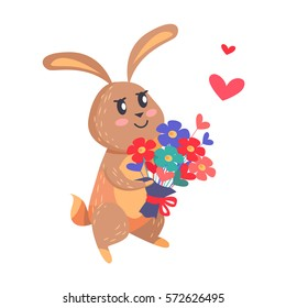 Bunny with bouquet of flowers isolated on white. Romantic hare wishes you love. Lovely rabbit with flowers. Cute cartoon post card design. Valentines day concept vector illustration in flat style