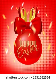 Bunny Bow easter Egg in the confetti. Red greeting banner