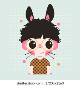 Bunny boy cartoon character. Childish print, card, sticker