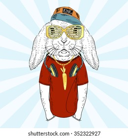 bunny boy with headphones dressed up in cap and t-shirt, furry art illustration
