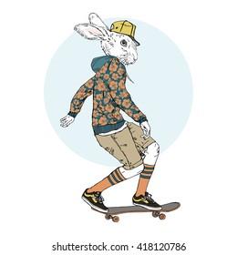 bunny boy riding on a skateboard, furry art illustration, fashion animals, dressed up animals, hipster animals