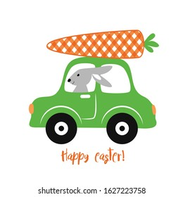Bunny, Car and Buffalo plaid Carrot Easter Design. Cartoon vector illustration. Nursery Art.
