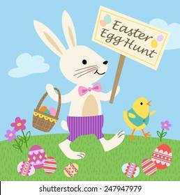 Bunny and Chick Easter Egg Hunt Vector Illustration