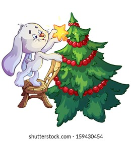 Bunny dresses up Christmas tree.  Vector illustration on white background. Design element for christmas cards.