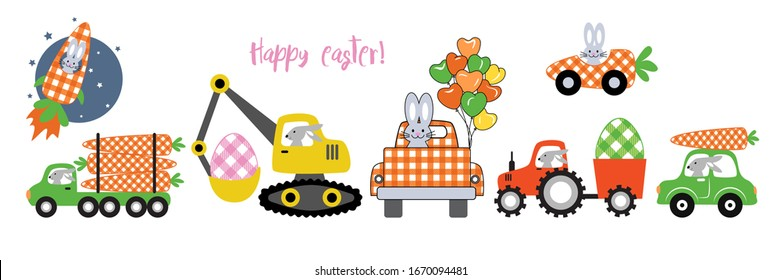 Bunny driver and different vehicles. ( Carrot,  Excavator, Truck, Car, Logging Truck and Rocket ). Easter Transport Collection. Isolated objects on a white background.