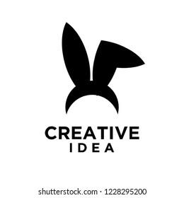 bunny ear logo icon designs vector