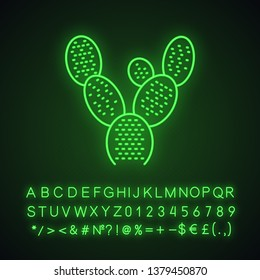 Bunny ears cactus neon light icon. Opuntia microdasys. Prickly pear cactus. Mexican exotic flora. Glowing sign with alphabet, numbers and symbols. Vector isolated illustration