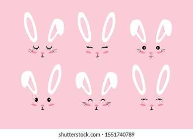 Bunny ears. Easter Bunny face mask. Vector