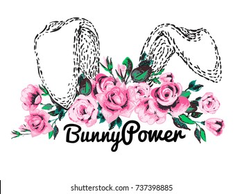 Bunny ears and floral princess crown vector illustration. Girl power feminism concept in cute baby style. Rose flower head wreath. Greeting card or woman t-shirt design isolated on white background