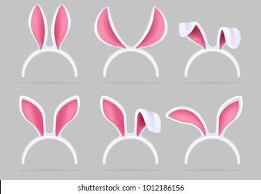 Bunny ears mask. Easter rabbit costume photo booth isolated vector set. Illustration of easter rabbit ear costume headband