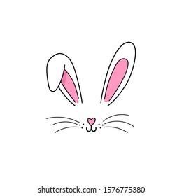 Bunny ears mask. Bunny face. Easter. Vector