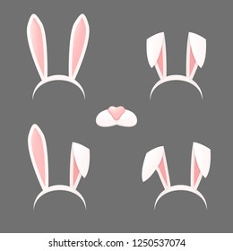 Bunny ears mask set cartoon vector illustration isolated on a gray background . Ostern rabbit rabbit ears and muzzle with a nose spring hat collection