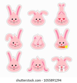 Bunny emotions character. Cute easter patches pink rabbit heads emoticons vector. Easter bunny holiday sticker