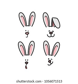 Bunny emotions character. Cute easter rabbit heads emoticons vector. Easter bunny holiday vector sticker