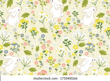 Bunny and Flowers texture vector seamless pattern. Great for spring and summer wallpaper, backgrounds, invitations, packaging design projects.  Surface pattern design.