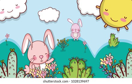 Bunny in the forest doodle cartoon