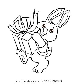Bunny with a gift box. Vector illustration isolated on a white background. Outlined for coloring book.
