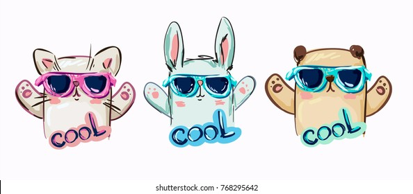 bunny with glasses, bear with glasses, cat with glasses, Trendy cool illustration vector, children's T-shirt, vector illustration, hand drawn illustration.