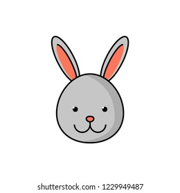 Bunny icon. Cute rabbit logotype for kids project. Vector flat line cartoon illustration animal attractive face isolated on white background.