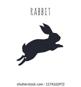 Bunny jumping. Rabbit silhouette vactor illustration.