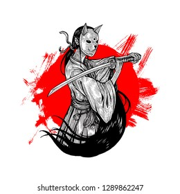 Bunny Mask Samurai Girl, Hand Drawn Illustration, Isolated Vector