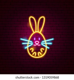 Bunny Neon Sign. Vector Illustration of Animal Promotion.