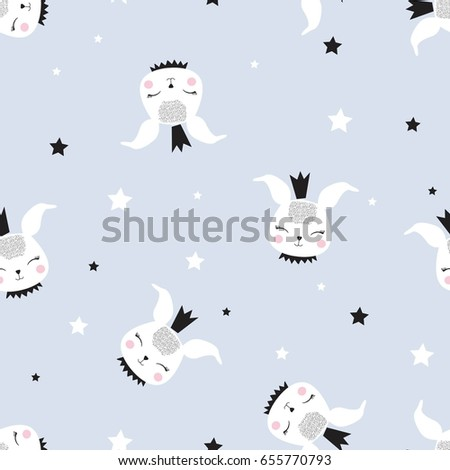 Bunny Pattern Illustration Vector Print Design Stock Vector Royalty
