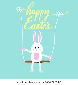 Bunny play swing with happy Easter lettering on blue pastel background.Template for Easter season greeting card, banner and poster in vector illustration to celebrate the festival.