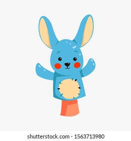 Bunny puppets for hands . Dolls for children theater, performance. Game with doll, vector animal character, isolated icon. Hand puppets, funny rabbit toy animal.