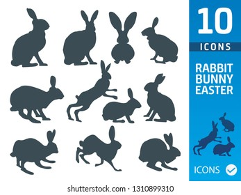 Bunny, rabbit flat icon set