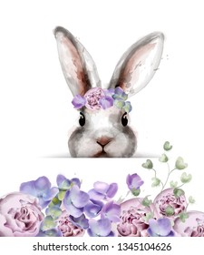Bunny rabbit with flowers Vector watercolor. Cute spring card. Easter holiday greeting