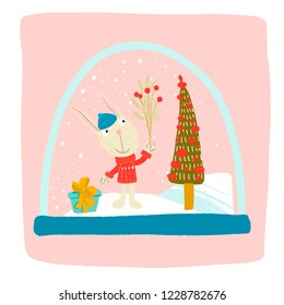 Bunny in a red sweater, blue hat with a branch of mistletoe in a paw, blue gift with a yellow bow, Christmas trees decorated with Christmas toys, the moon shines and the stars