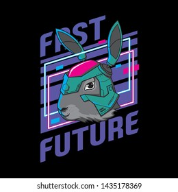 bunny robot. rabbit wearing helmet future illustration ready print for t-shirt and sticker