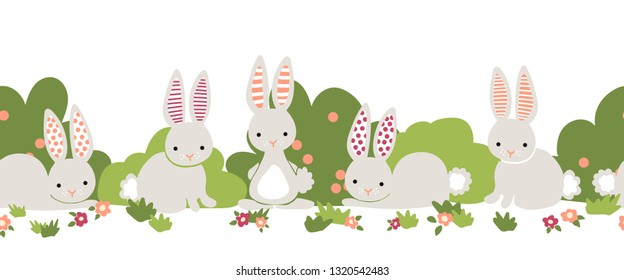Bunny seamless vector border. Cute bunnies, flower bushes repeating background. Cartoon style rabbits kids design. For digital paper, kids decor, web banner, card, birthday invitation, spring, summer.