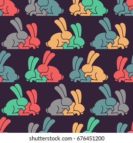 Bunny sex pattern. rabbit intercourse ornqment. Hares background. Animal reproduction texture